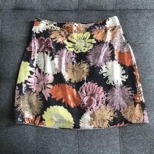 Zara sequin mini skirt floral pattern